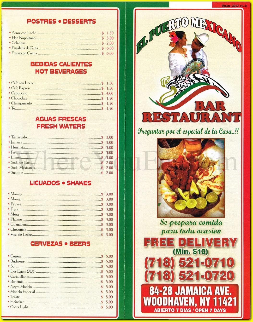 El Puerto Mexicano Restaurant In Queens Official Menus Photos